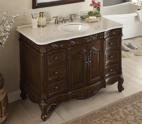 "42"" Classic Design White Marble Beckham Bathroom Sink Vanity & Mirror Set  SW-3882W-TK-42/MR-3882 - Chans Furniture - 4"