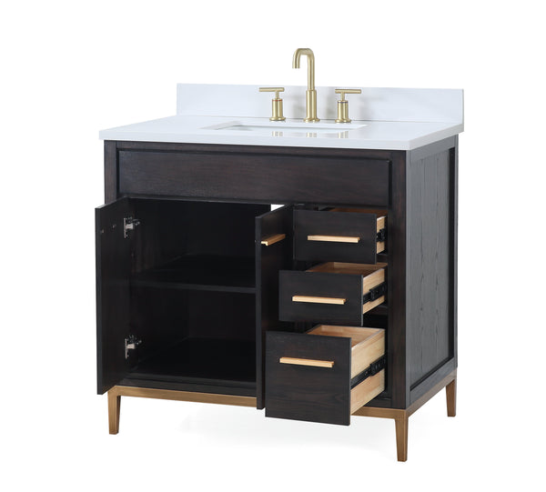 "36""  Tennant Brand Modern Style Beatrice Bathroom Sink Vanity - TB-9838DK-V36   Wenge finish"