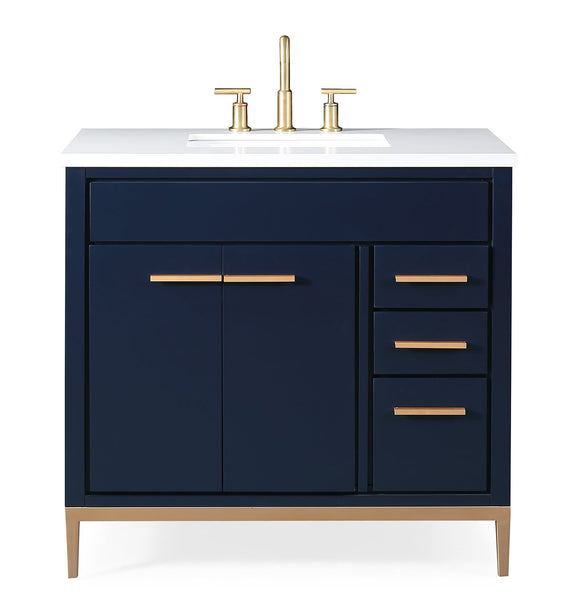 36 Tennant Brand Beatrice Navy Blue Modern Bathroom Sink Vanity Tb 98 Bentoncollections