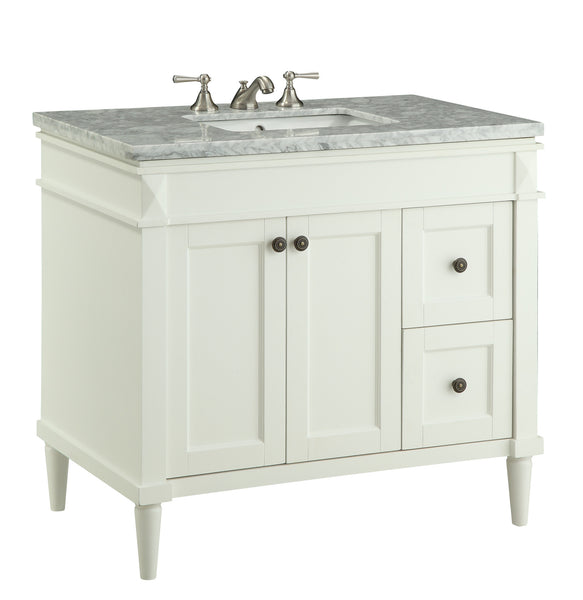 "35"" Italian Carrara Marble top Braemar Sink  Vanity  # 91715CR - Chans Furniture - 2"