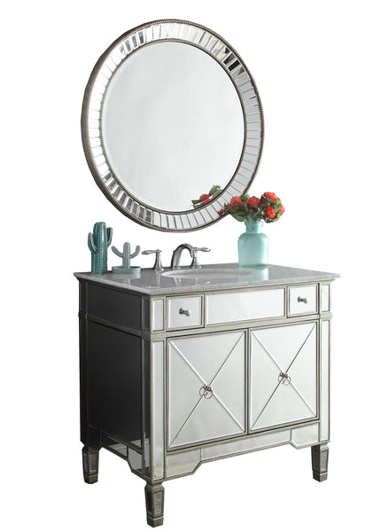"36"" Benton Collection Mirror Reflection Ashlyn Bathroom Sink Vanity & Mirror Set  YR-023RA/MR-2373 - Chans Furniture - 4"