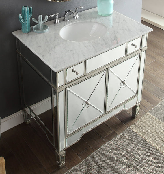 "36"" Carrara marble Mirror reflection Ashlyn Bathroom Sink Vanity # YR-023RA-36 - Chans Furniture - 2"