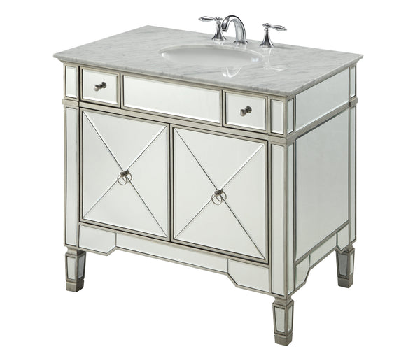 "36"" Carrara marble Mirror reflection Ashlyn Bathroom Sink Vanity # YR-023RA-36 - Chans Furniture - 3"