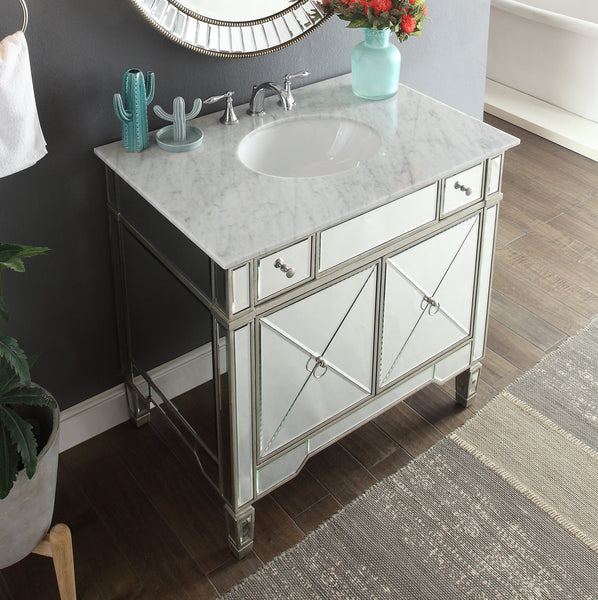 "36"" Benton Collection Mirror Reflection Ashlyn Bathroom Sink Vanity & Mirror Set  YR-023RA/MR-2373 - Chans Furniture - 2"