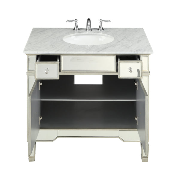 "36"" Carrara marble Mirror reflection Ashlyn Bathroom Sink Vanity # YR-023RA-36 - Chans Furniture - 5"
