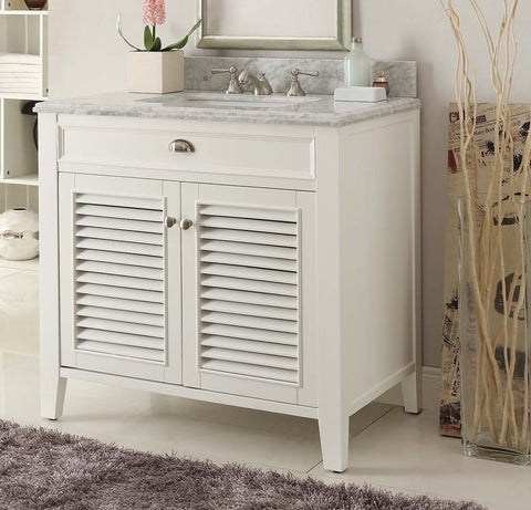 "36"" Shutter Blinds Kalani Double Sink Bathroom Sink Vanity model YR3028Q36 - Chans Furniture - 1"