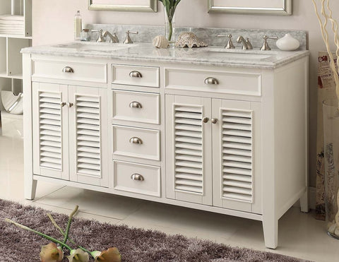 "60"" Shutter Blinds Kalani Double Sink Bathroom Sink Vanity model - YR-3028Q60D - Chans Furniture - 1"