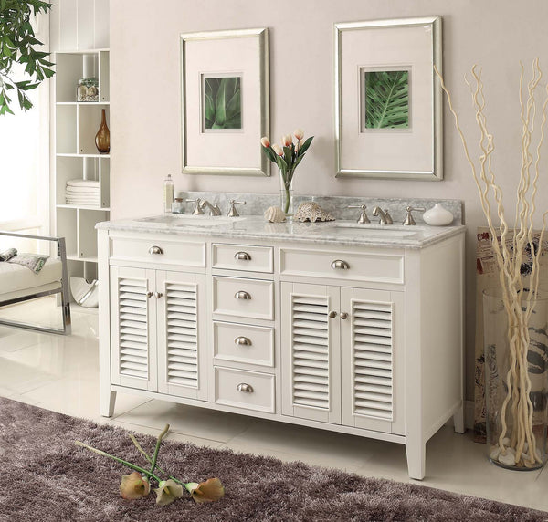"60"" Shutter Blinds Kalani Double Sink Bathroom Sink Vanity model - YR-3028Q60D - Chans Furniture - 4"