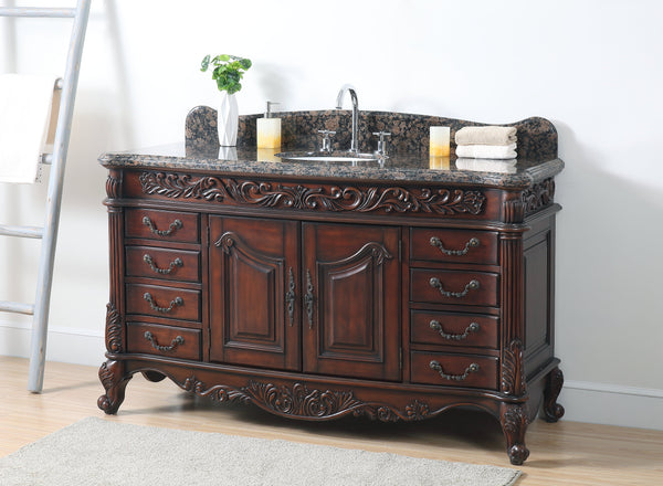 "60"" Old Timer Classic all wood Granite countertop Martinique bathroom sink vanity # ZK-002SB"
