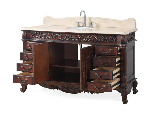"60"" Old Timer Classic all wood Cream Marble Top Martinique bathroom sink vanity # ZK-002M"