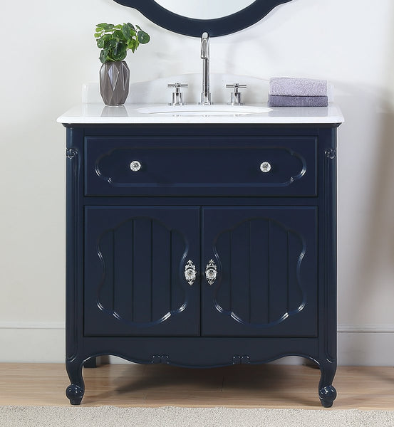 "34"" Benton Collection Knoxville Victorian Cottage Style Navy Blue Bathroom Vanity GD-1533NB"