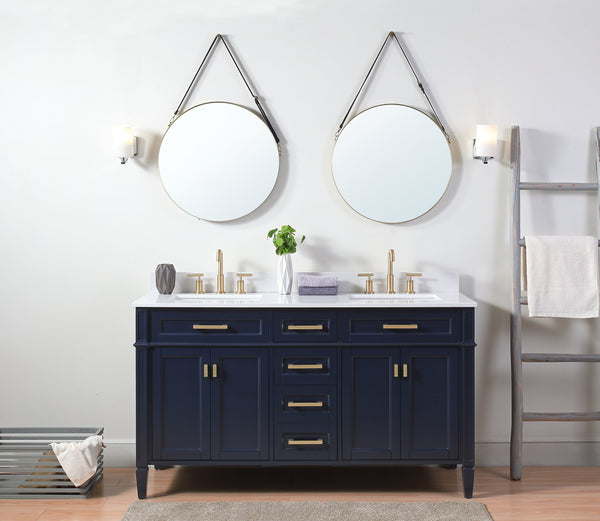 60 Tennant Brand Durand Modern Navy Blue Double Sink Bathroom Vanity Bentoncollections