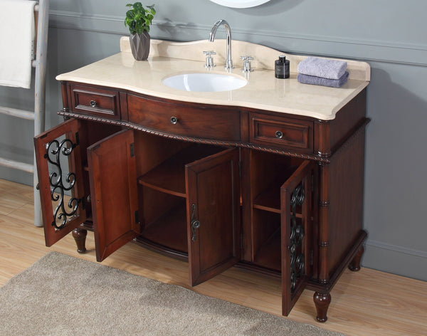 53 Inch Bathroom Sink Vanity, All Wood Construction Willington SKU # ZK-3303M-53