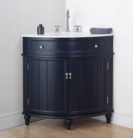 "24"" Benton Collection Thomasville Dark Blue Corner Bathroom Vanity - ZK-47588NB"