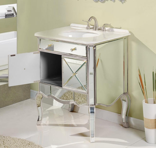 "30"" Mirror reflection Adelisa Bathroom Sink Vanity & Mirror Set   5106SL/MR-1002SC - Chans Furniture - 3"