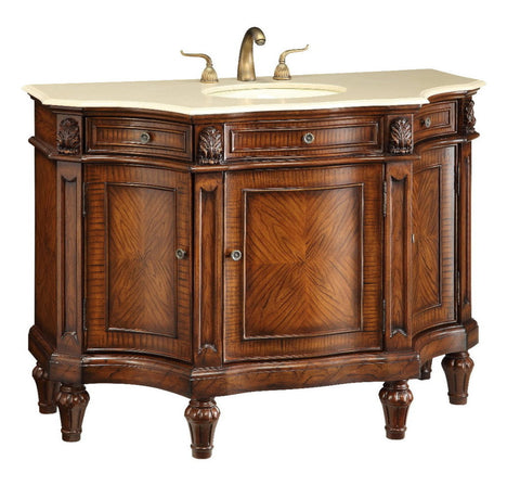 "48"" Cream Marble Top Canisius Bathroom Sink Vanity   Model # Q110302M - Chans Furniture"