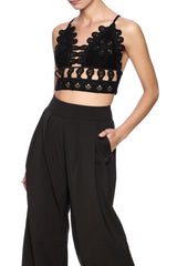 Embroidered Suede Crop Top