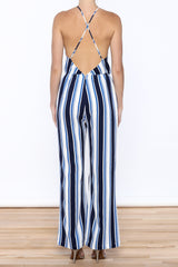 Stripped Plunge Neck Jumpsuit