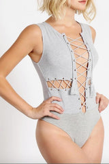 Lace-Up Tassel Bodysuit