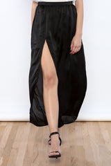Satin Slit Maxi Skirt
