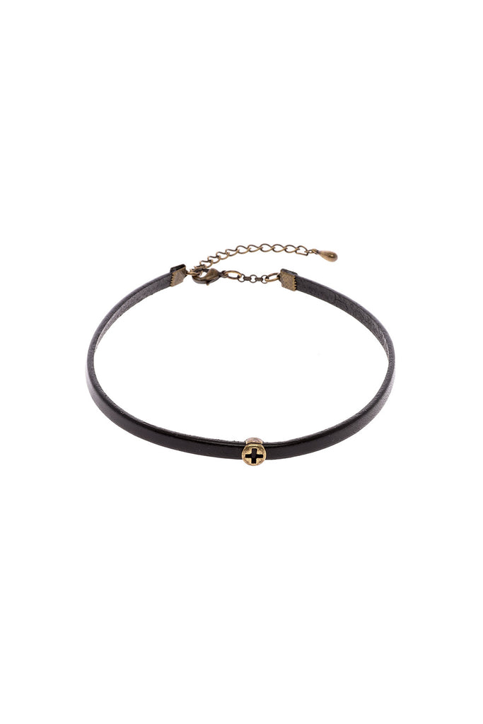Leather Antiquated Cross Choker