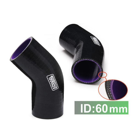 "2.36"" 60mm 45 degree silicone elbow coupler"
