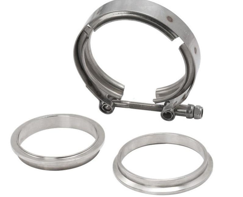 "Universal V-band clamps from 2"" to 4"""