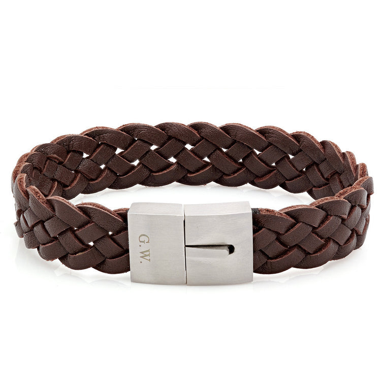 Brown Leather Weave Bracelet