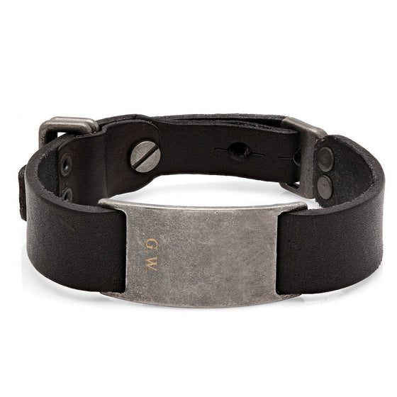 Antiqued Black Leather Bracelet