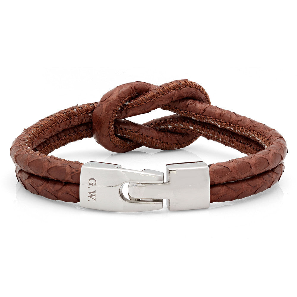 Brown Knot Genuine Snake Skin Bracelet