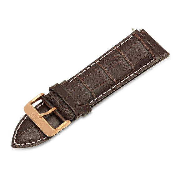 26mm Brown genuine leather strap -Rose buckle