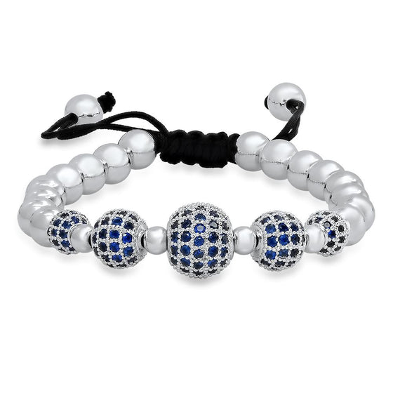 Rhodium Blue Emerald Bracelet