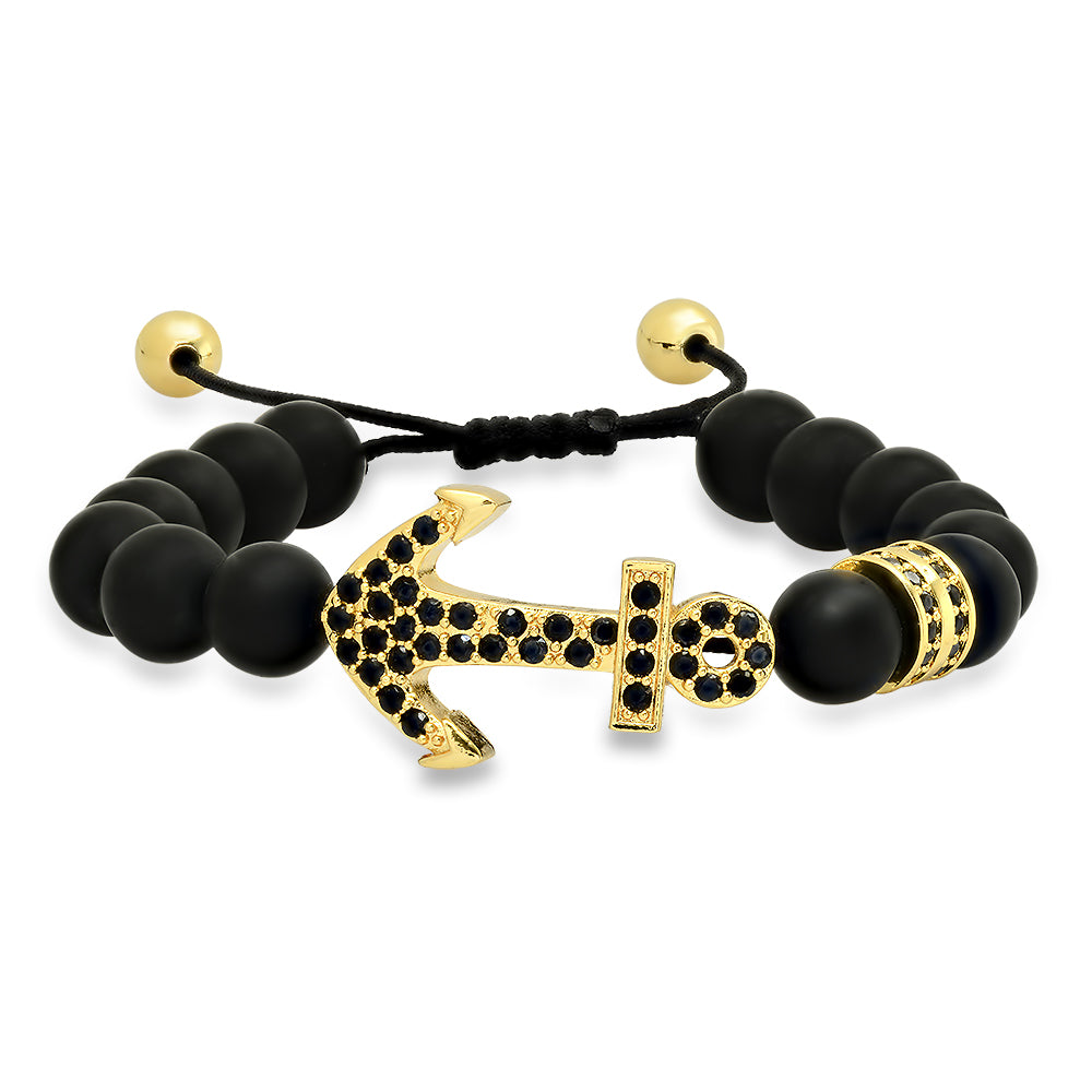 Black Lava Stone Gold Anchor Bracelet