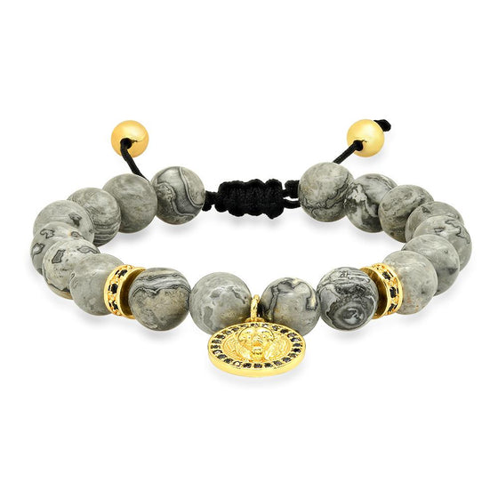Map Stone Beaded Gold Lion Pendant Bracelet