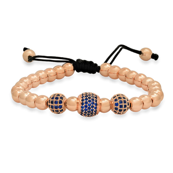Rose Gold Blue Emerald Bracelet