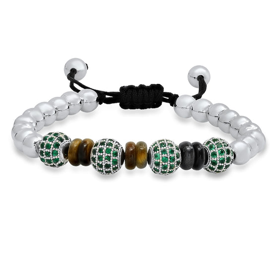 Rhodium Green Emerald Bracelet