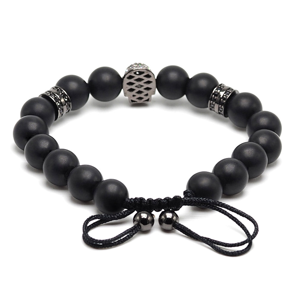 Black Agate Beaded Skull Bracelet
