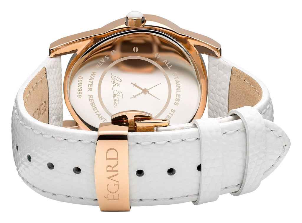 Beaute White Metal bracelet & Leather Strap Set