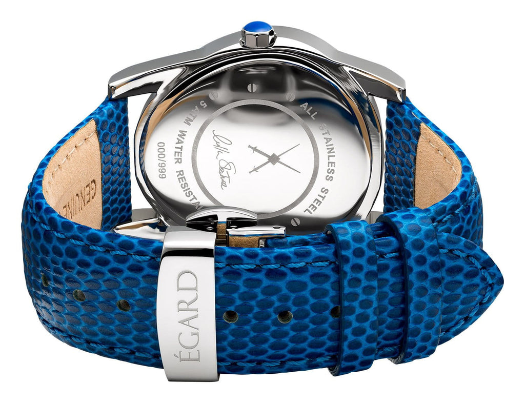 Beaute Blue Metal Bracelet & Leather Strap Set