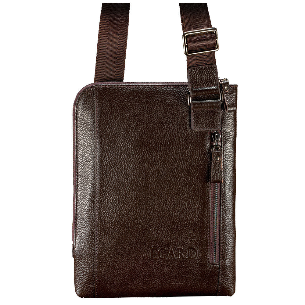 Dark Brown Leather Tablet Bag