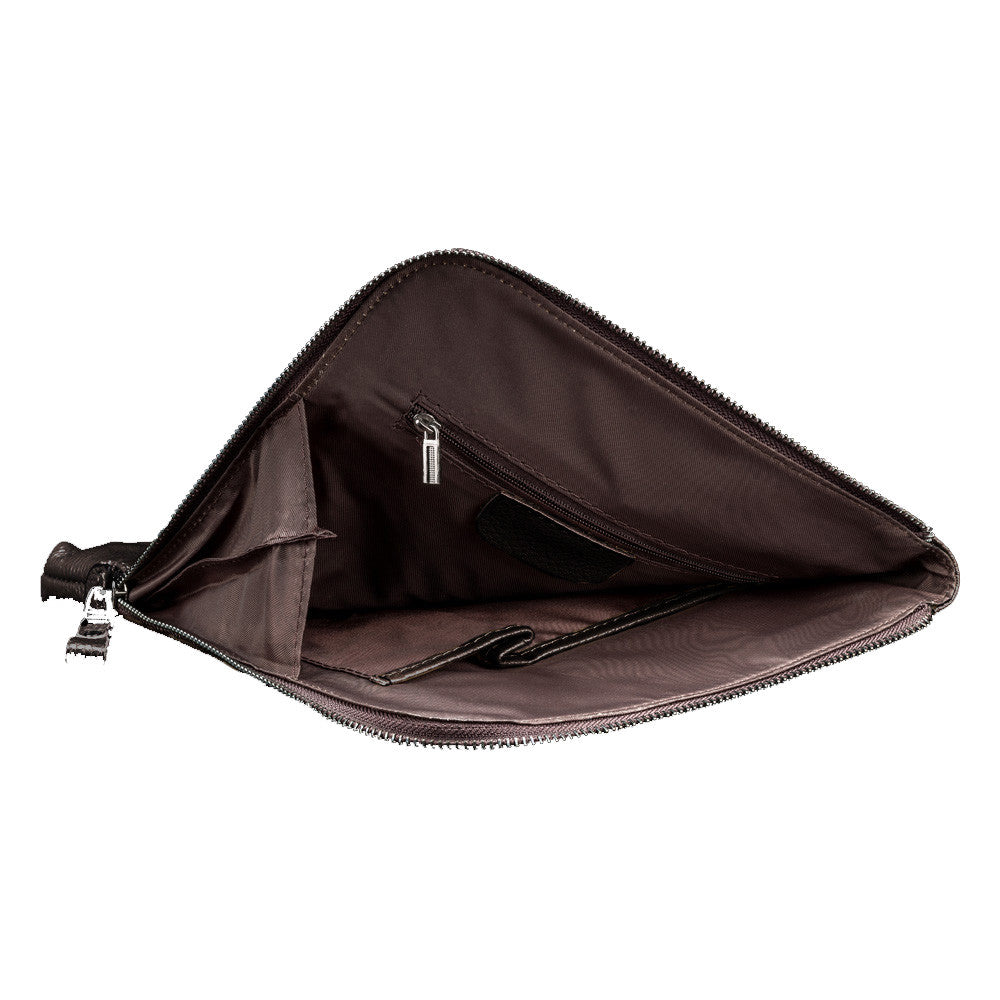 Saddle Brown Leather Tablet Bag