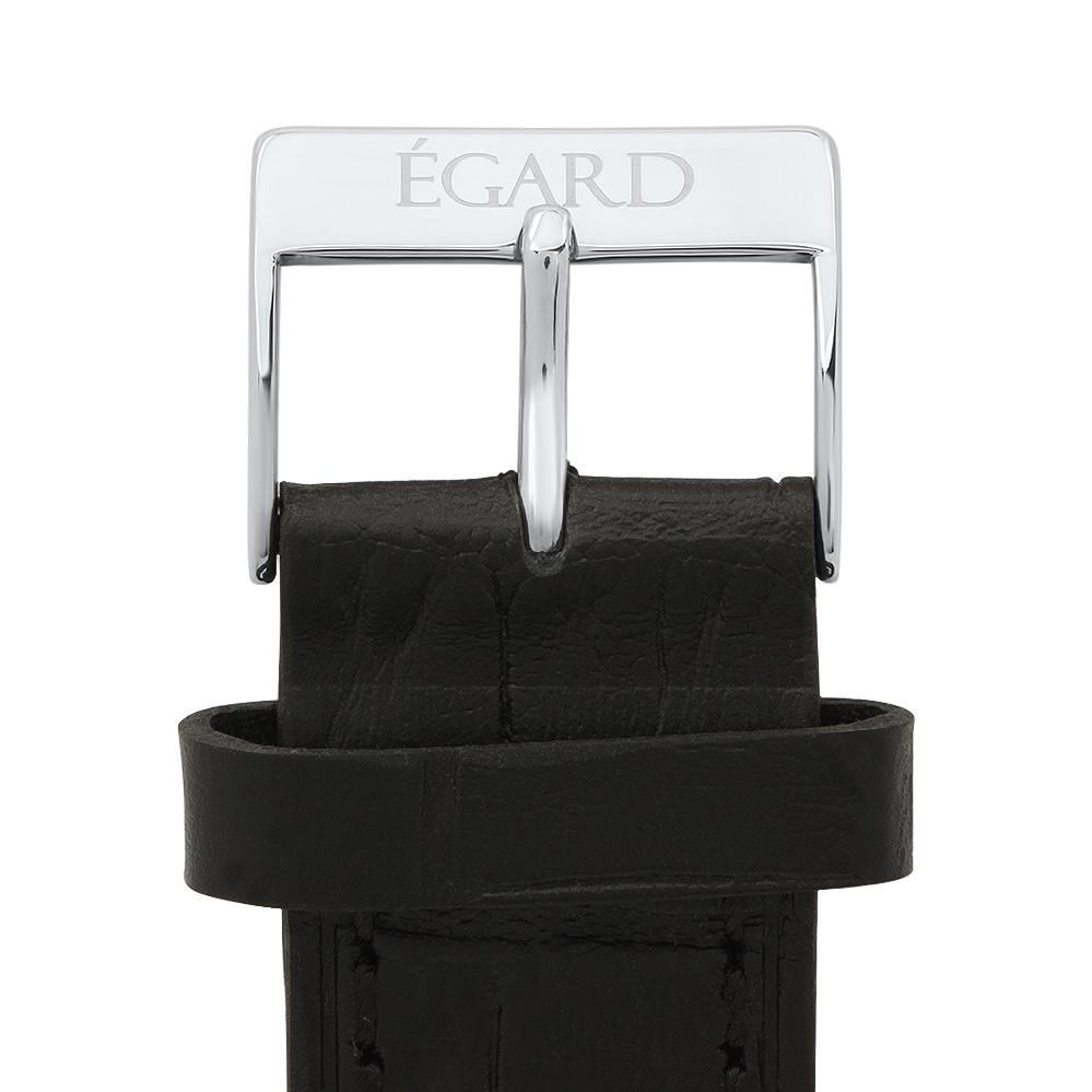 22mm Black genuine leather strap