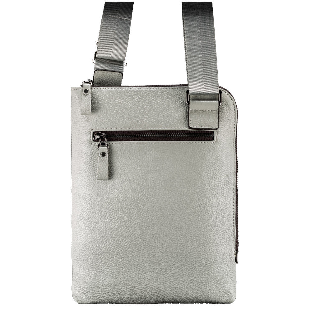 Grey Leather Tablet Bag