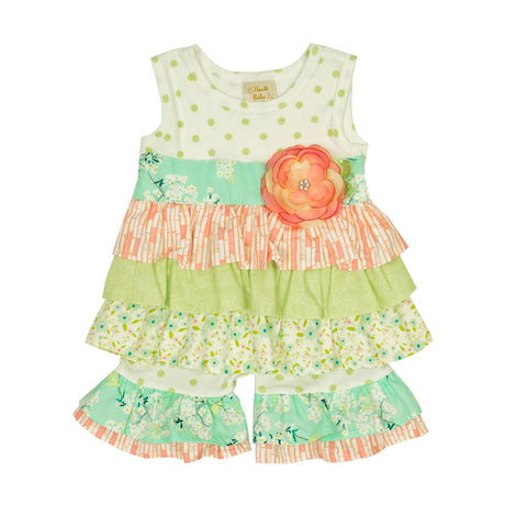 HAUTE BABY<br>LIME BLOSSOM GIRLS TUNIC SET