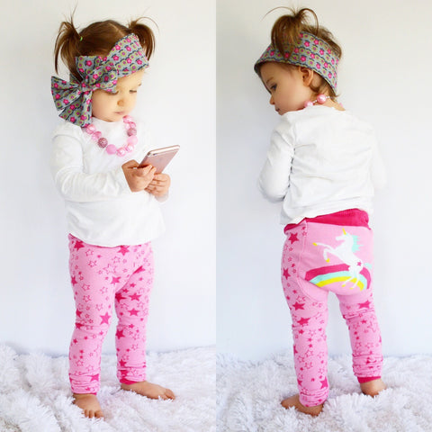Doodle Pants <br>Pink Rainbow Unicorn Leggings