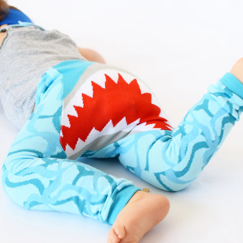 Doodle Pants Blue Shark Jaws Leggings