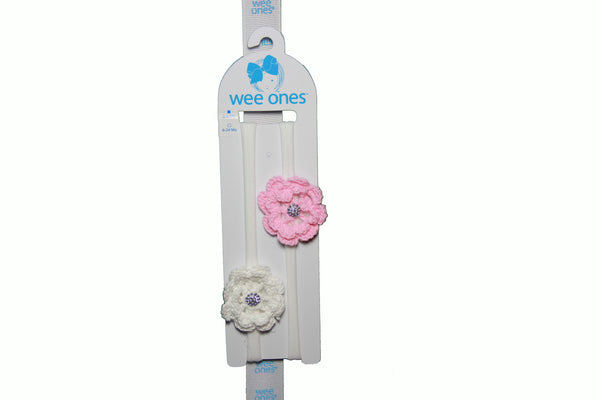 Wee Ones <br>Two Pack Of Knit Flower on Baby Bands