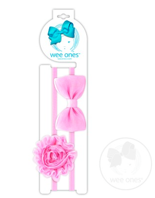 Wee Ones <br>One Organza Bowtie and One Flower<br> on Baby Bands