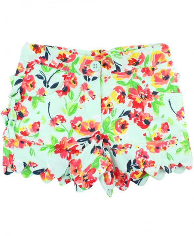 Ruffle Butts Painted Flowers Scallop Shorts
