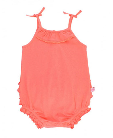 Ruffle Butts Coral Pom Pom Bubble Romper